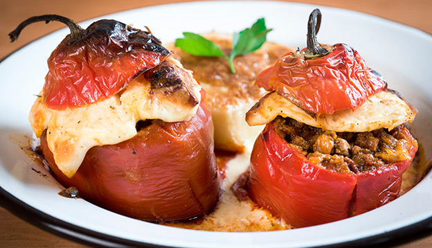 Rocoto relleno, traditional stuffed peppers on a plate