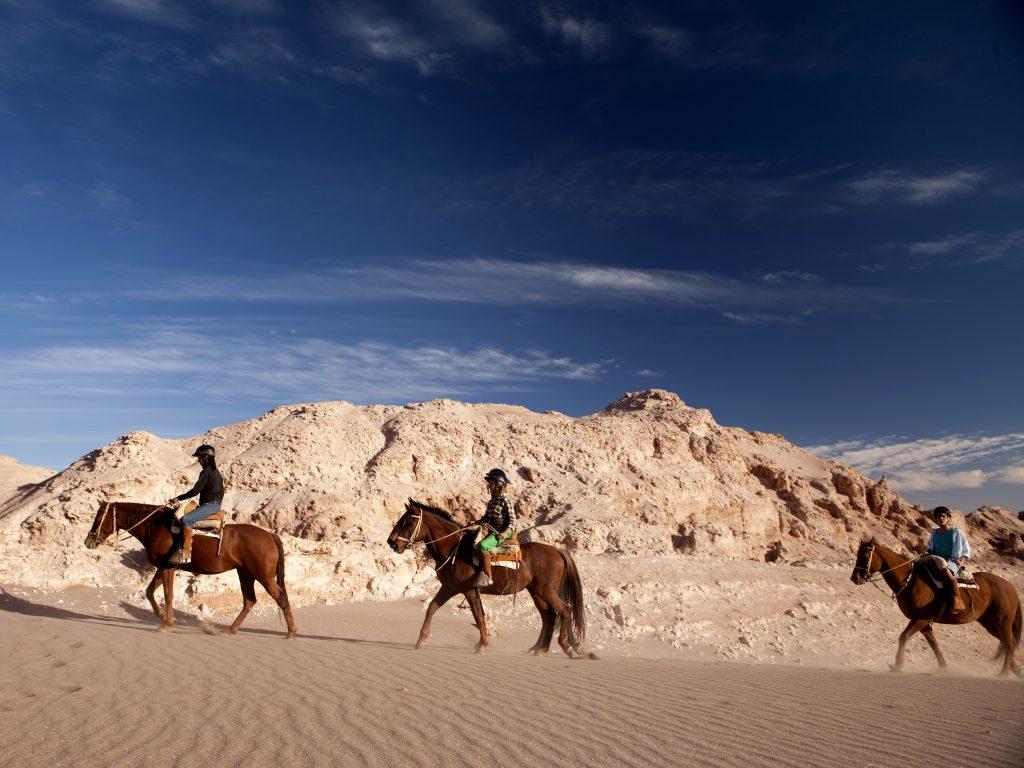Horse riding at Valle de la Luna in the Atacama Desert