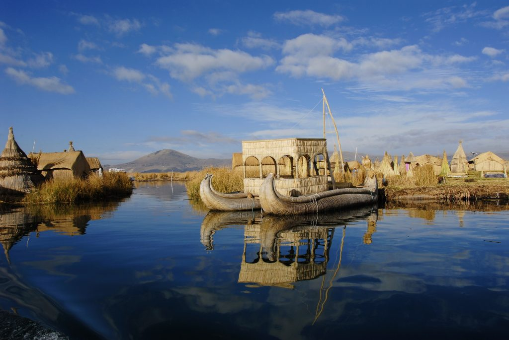 Floating boats on the Titicaca lake in Peru.