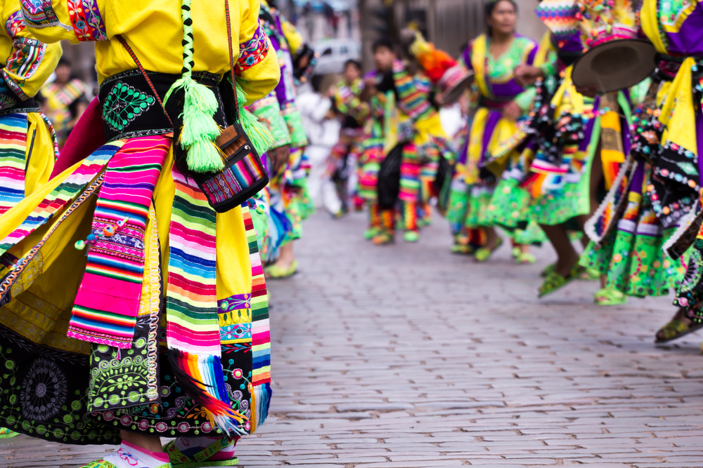 Women dancing in the parade in Cusco