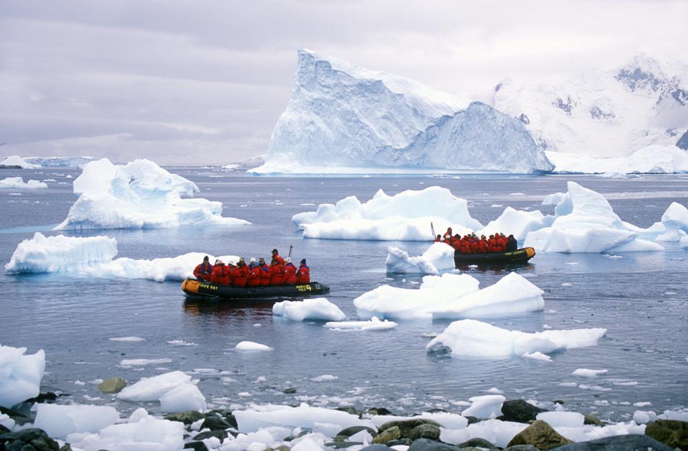 Sailing through Antarctica.