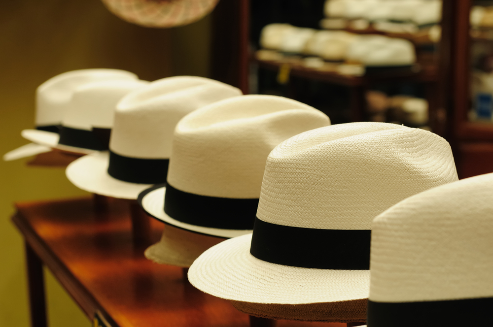 Panama Hats, a traditional brimmed hat made in Cuenca, Ecuador