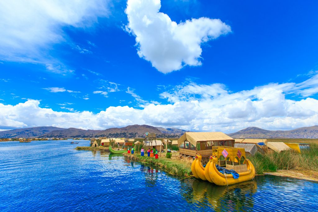 Handmade boats on Lake Titicaca, Peru.