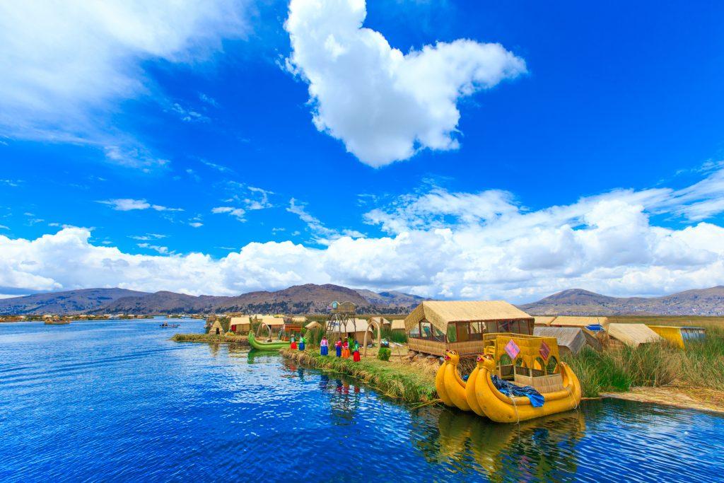 Handmade boats on Lake Titicaca, Peru.