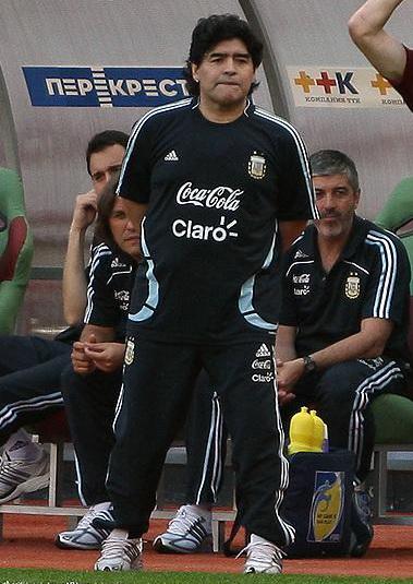 Maradona as coach of Argentina, in 2009
