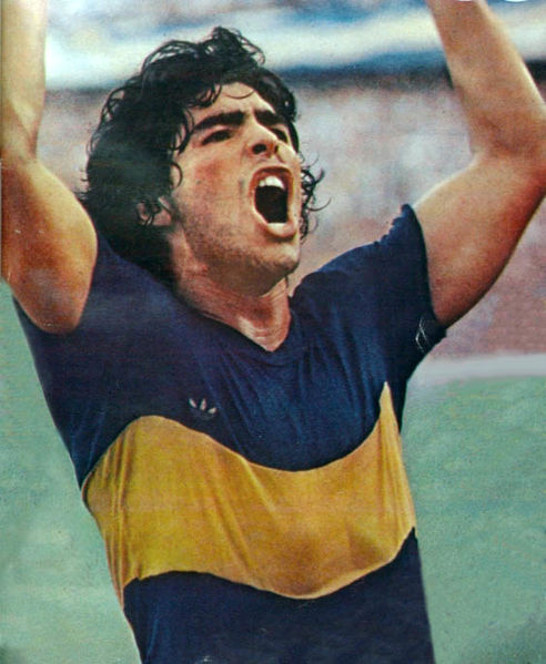 Maradona during his debut match with Boca Juniors, IN 1981