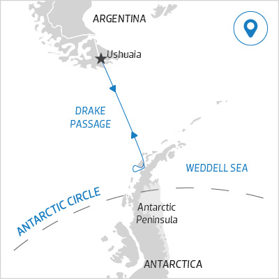 Antarctic Peninsula 11 days itinerary map