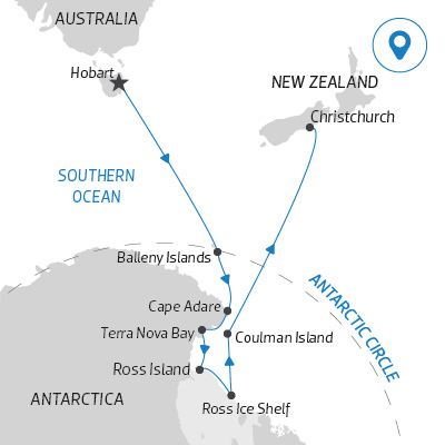 A potential Antarctica itinerary leaving from Hobart, Australia