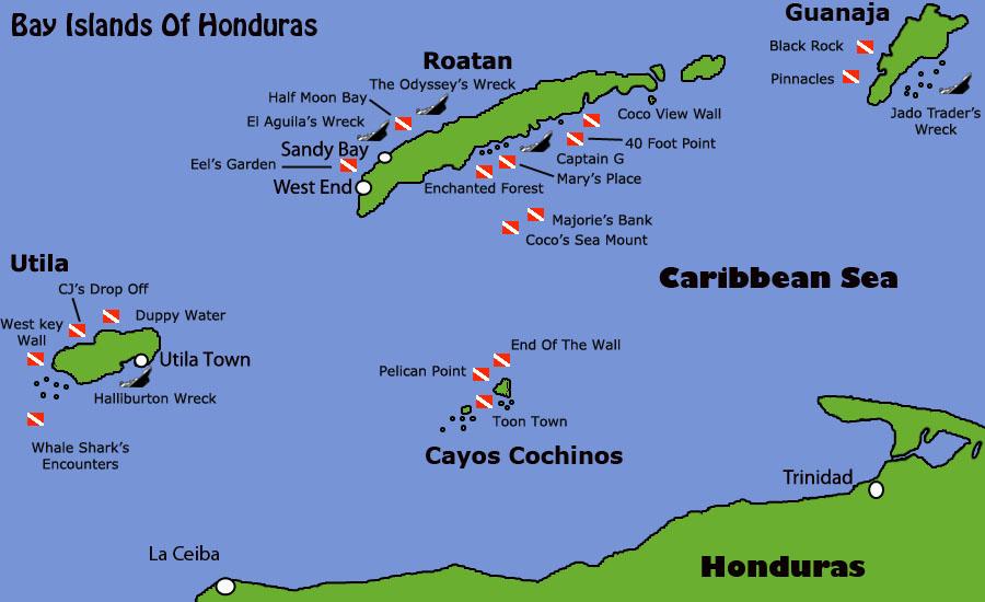 Map of snorkel spots Honduras.