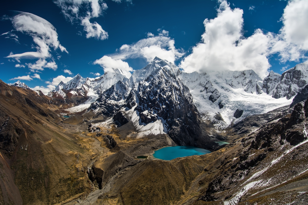 Amazing view in spectacular high mountains, Cordillera Huayhuash, Andes, Peru.