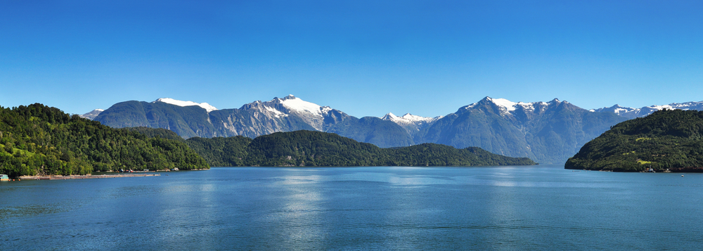 Beautiful panoramic view of Chilean fjords.