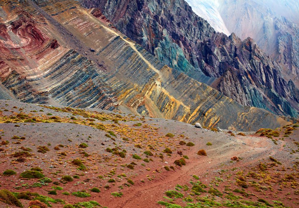 Coloured mountains in Aconcagua Nationanl Park