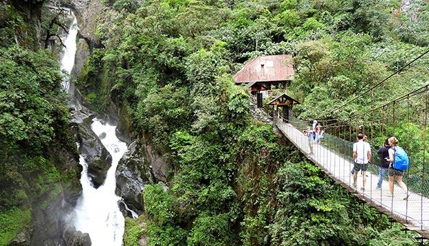 Palion del Diablo, Devil's Cauldron, waterfall near Banos, Ecuador