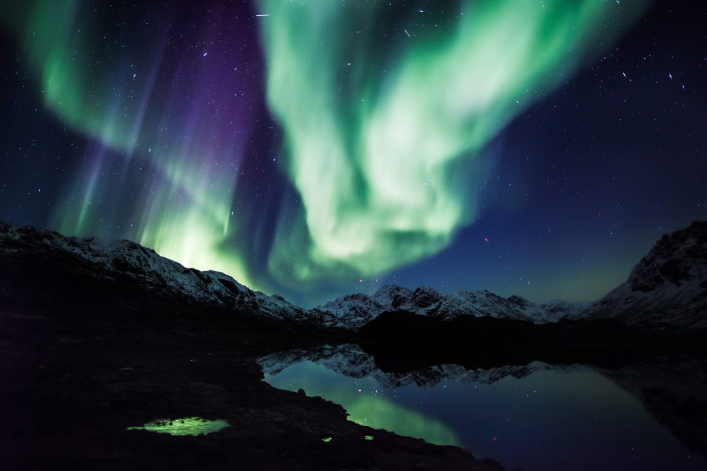 Watching the Northern Lights in Greenland, Arctic.
