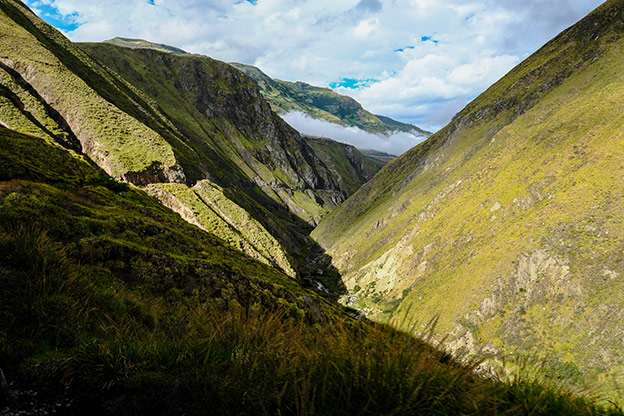 Valley in the Andes as seen from the Tren Crucero as it approaches the Devil's Nose