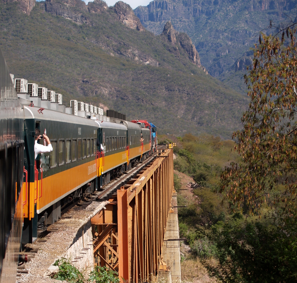 By train through the Copper Canyon in Mexico.