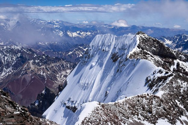 Mighty Aconcagua: view of the southern peak, from the northern peak.