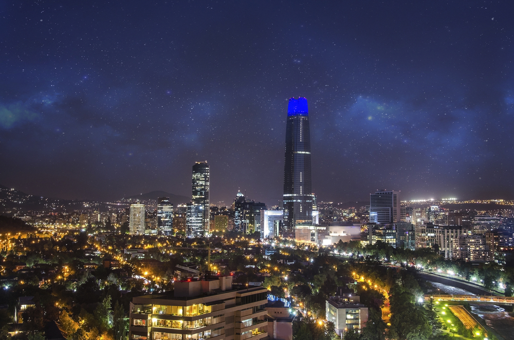 Night view of Costanera Centre.