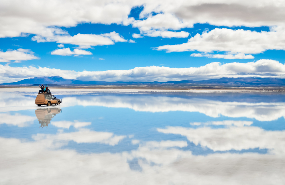 Spectacular Salar Uyuni during wet season.