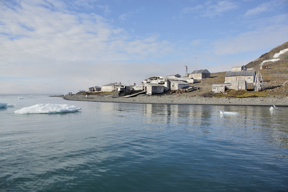 Abandoned polar station 'Tikhaya' in Arctic - Franz josef land, Russia.