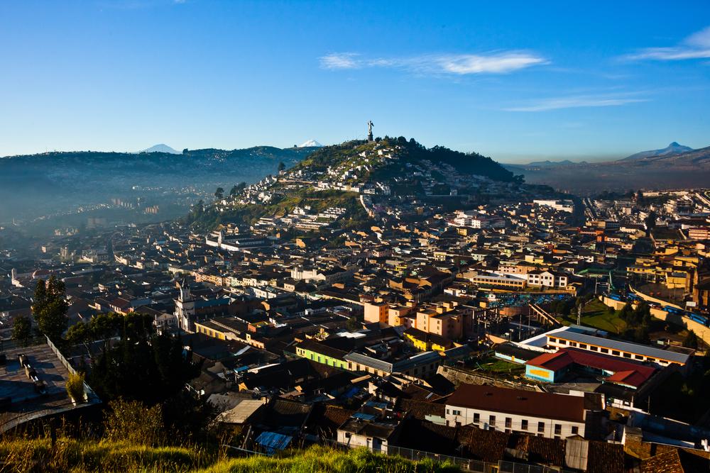 View of El Panecillo in the center of Quito