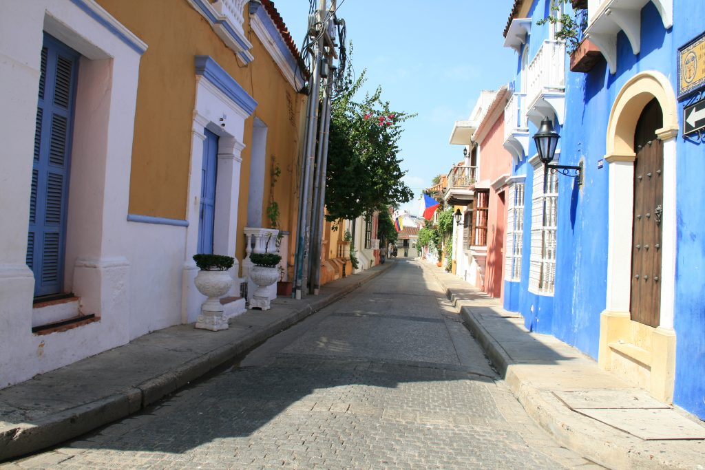 The colourful streets of Cartagena, Colombia perfect to visit in March.
