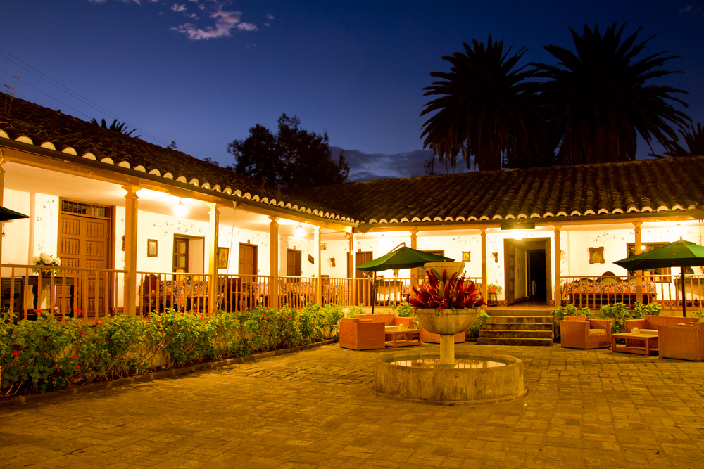 Beautiful hacienda by night.
