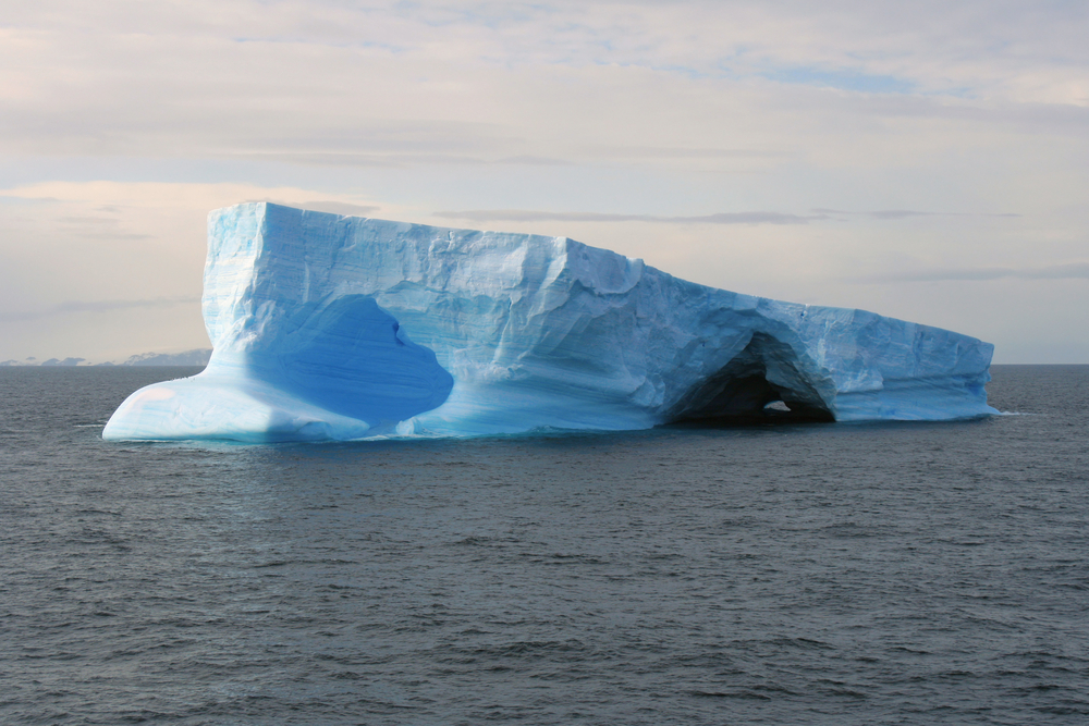 Ice bergs floating near King George Island.