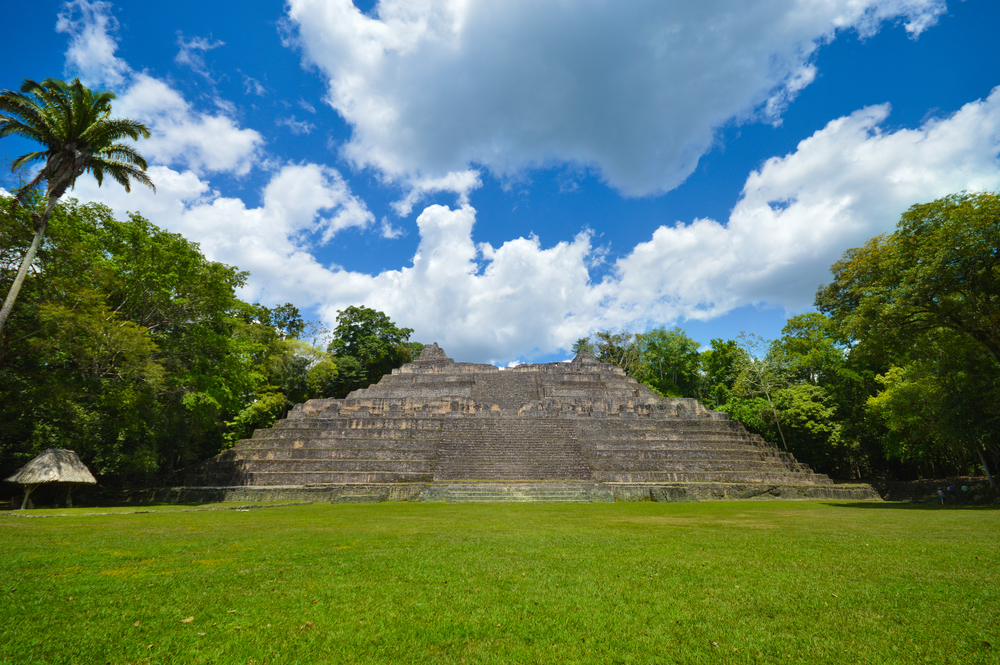 Caana pyramid at the Caracol archaeological site of Mayan civilization in Western Belize
