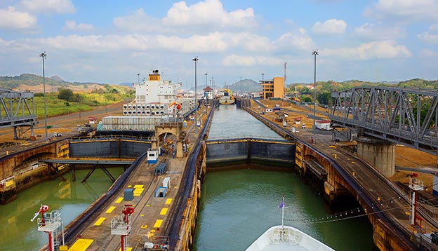 The first lock of the Panama canal from the Pacific ocean.