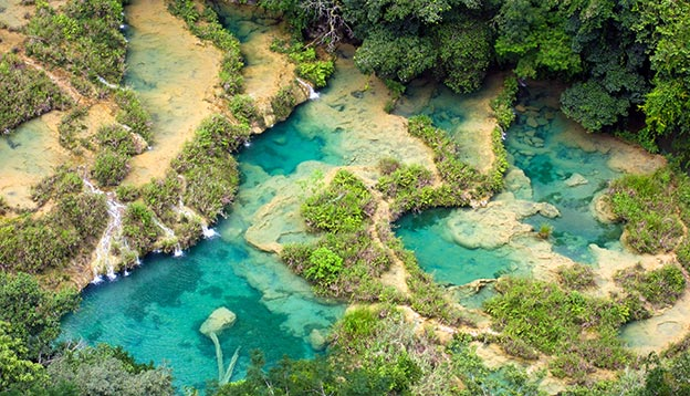 An aerial view of Semuc Champey natural pools and cascades in Guatemala