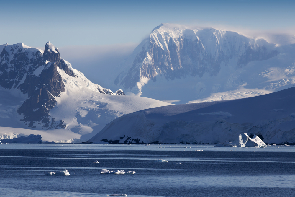 Nature of Antarctic Peninsula with glaciers and icebergs