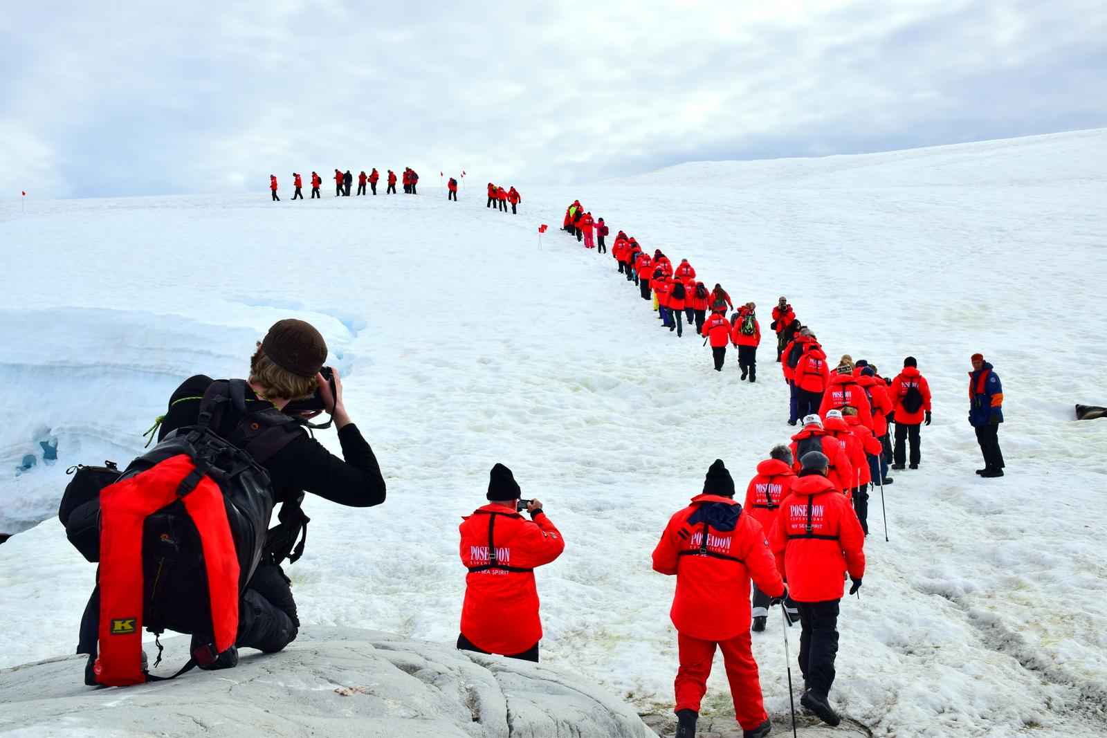 Antarctica travellers group in Hydruga Rocks Antarctica