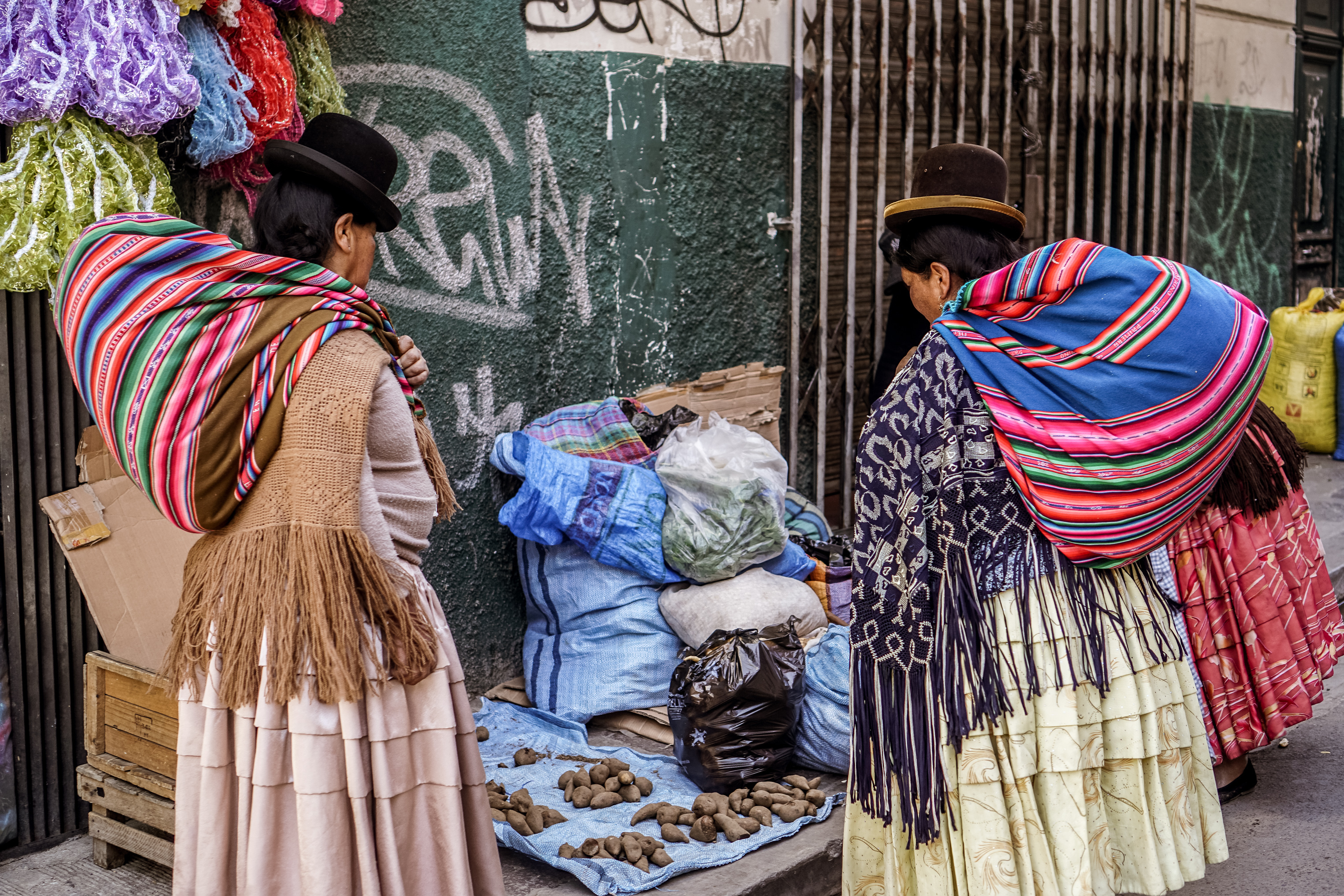 Native women in traditional dress in the market