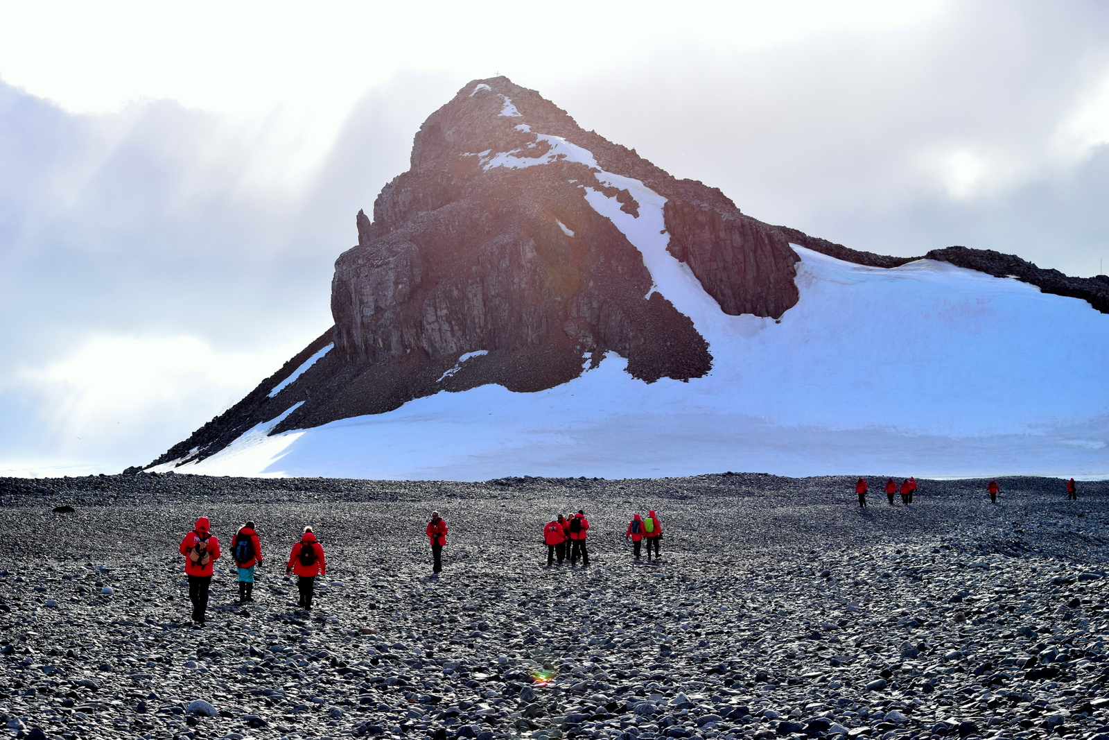 Group of travellers in Half Moon Island in Antarctica