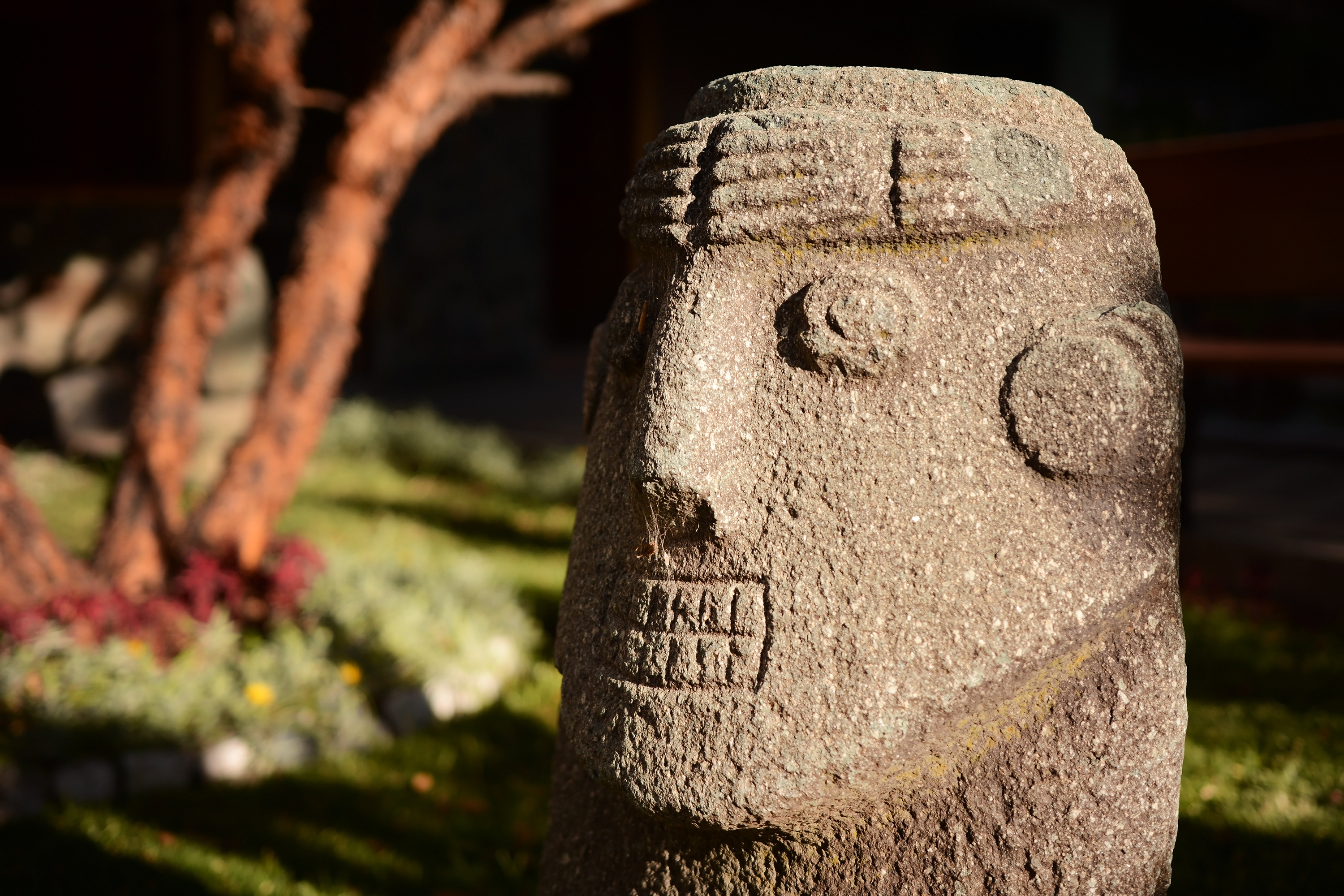 head sculpture outdoors in Cusco Peru