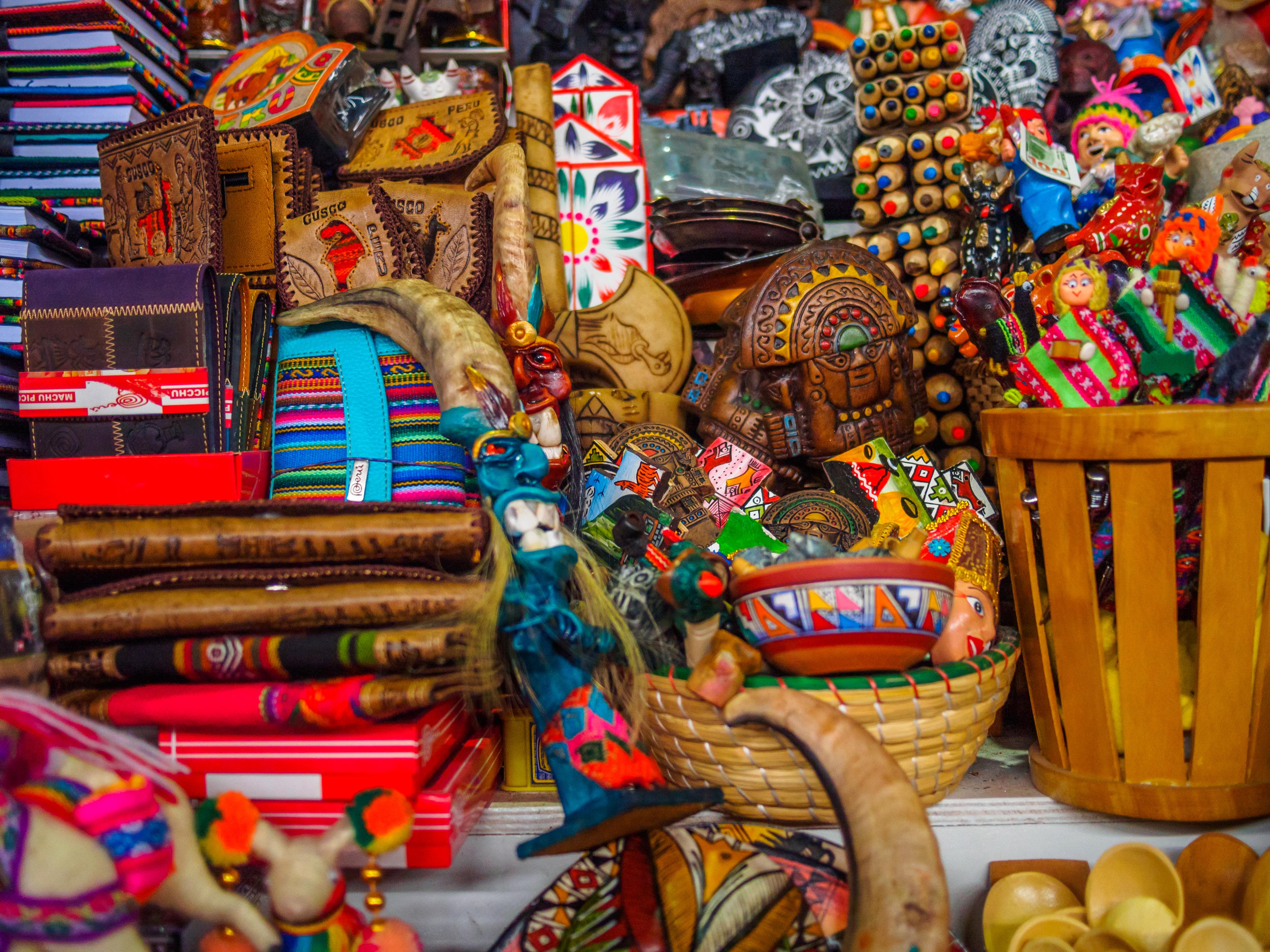 Close-up of souvenirs of Peru, in a market of Cusc