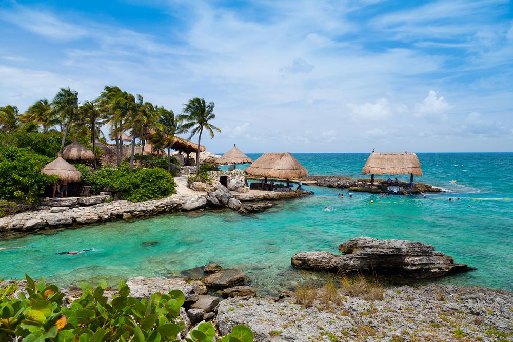 Huts at a beach at the Mayan Riviera.