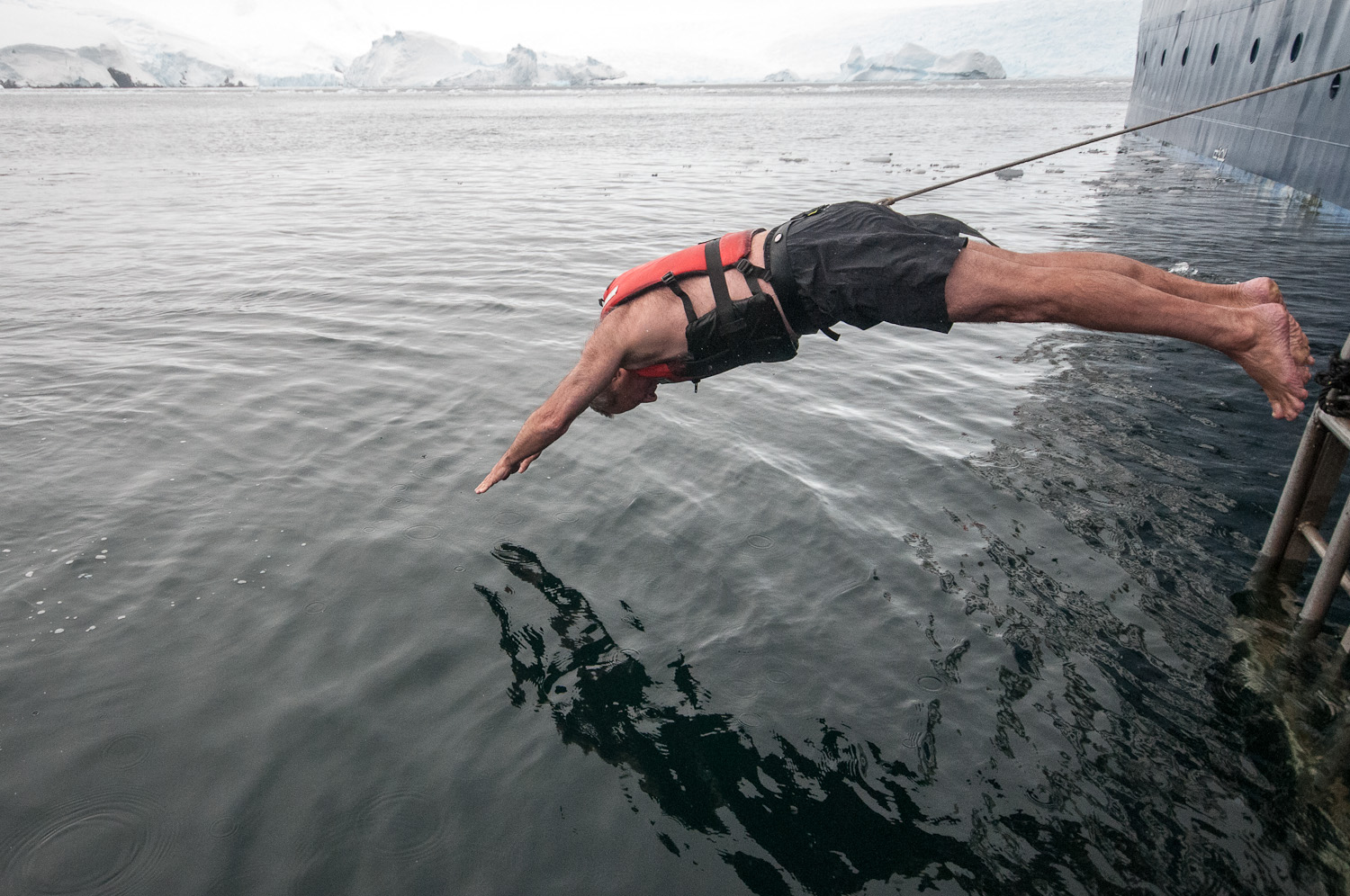 Diving in the icy water in Antarctica