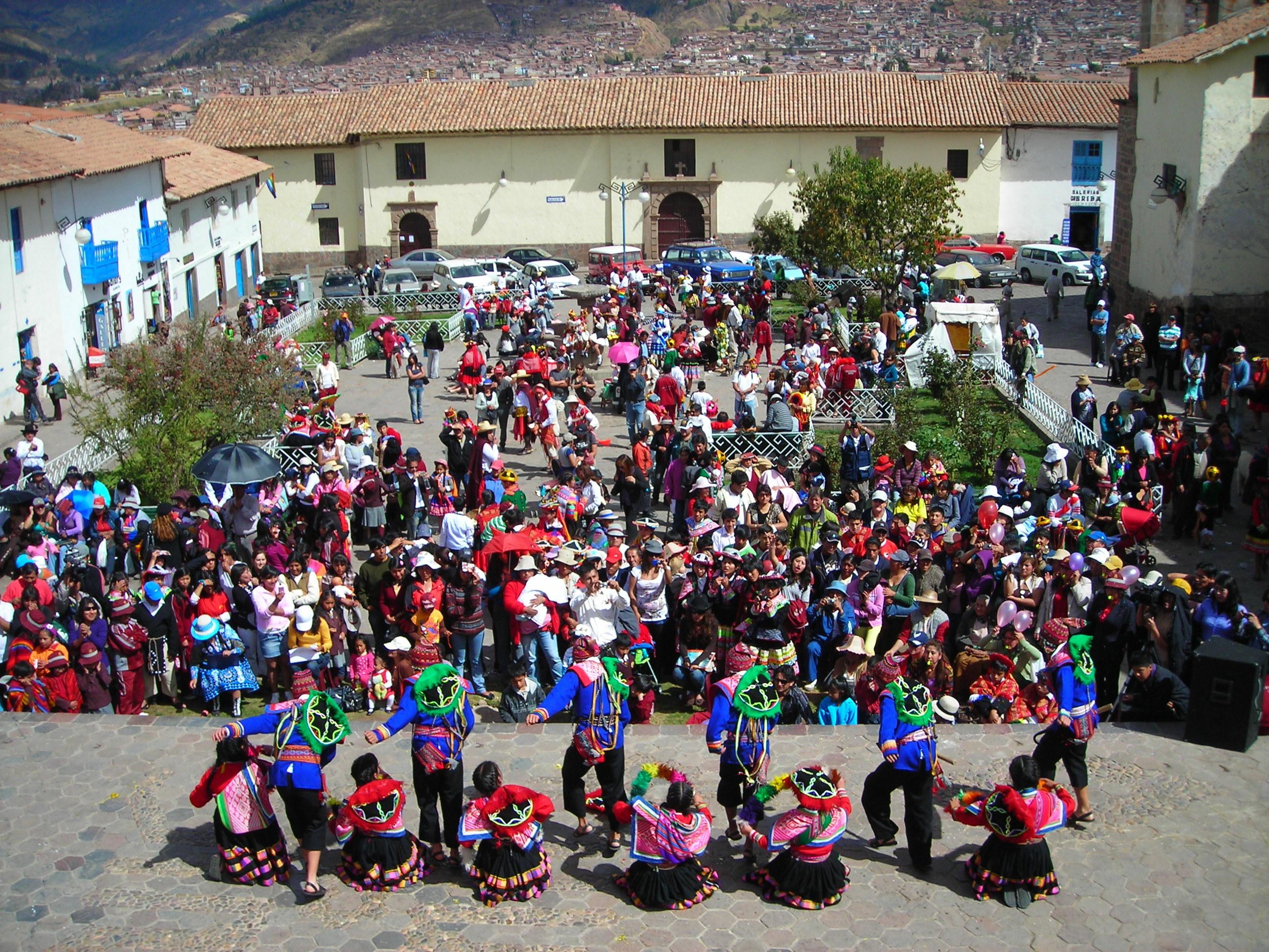 Peruvians dancing at Plaza San Blas, Cusco, Peru