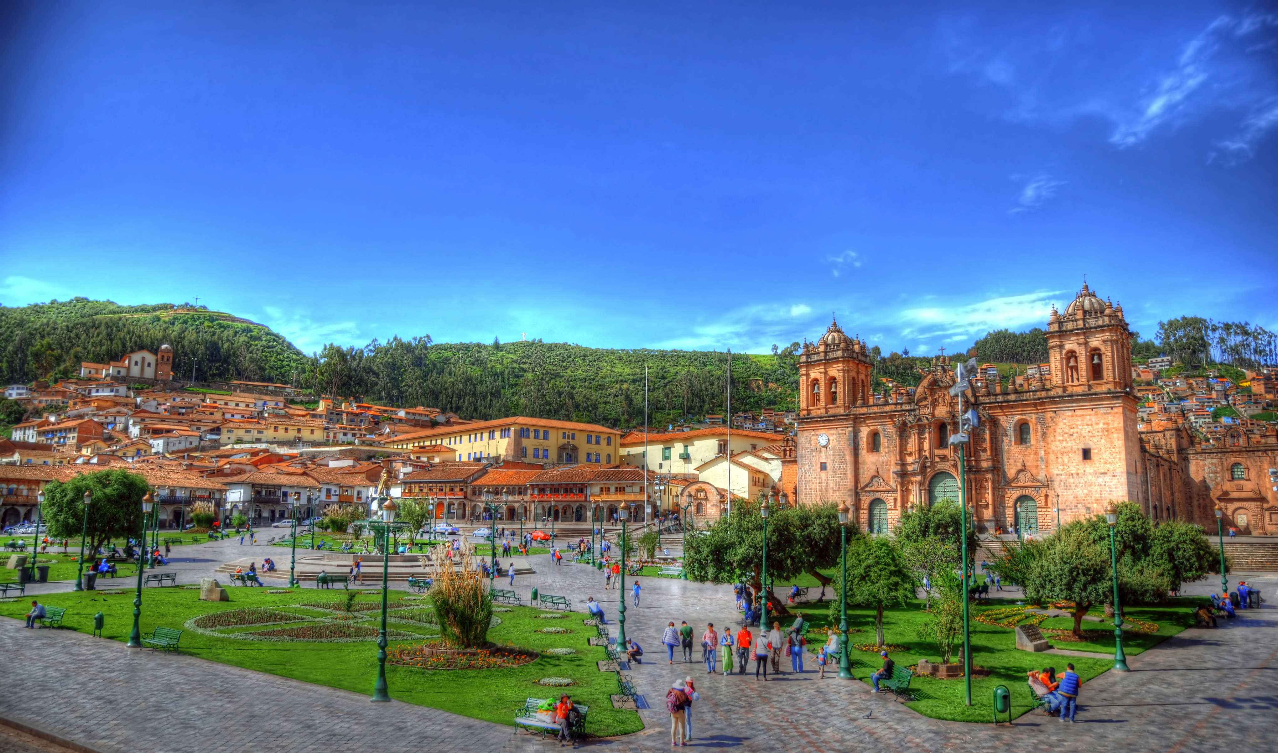 the Park and buildings at Plaza de Armas in Cusco