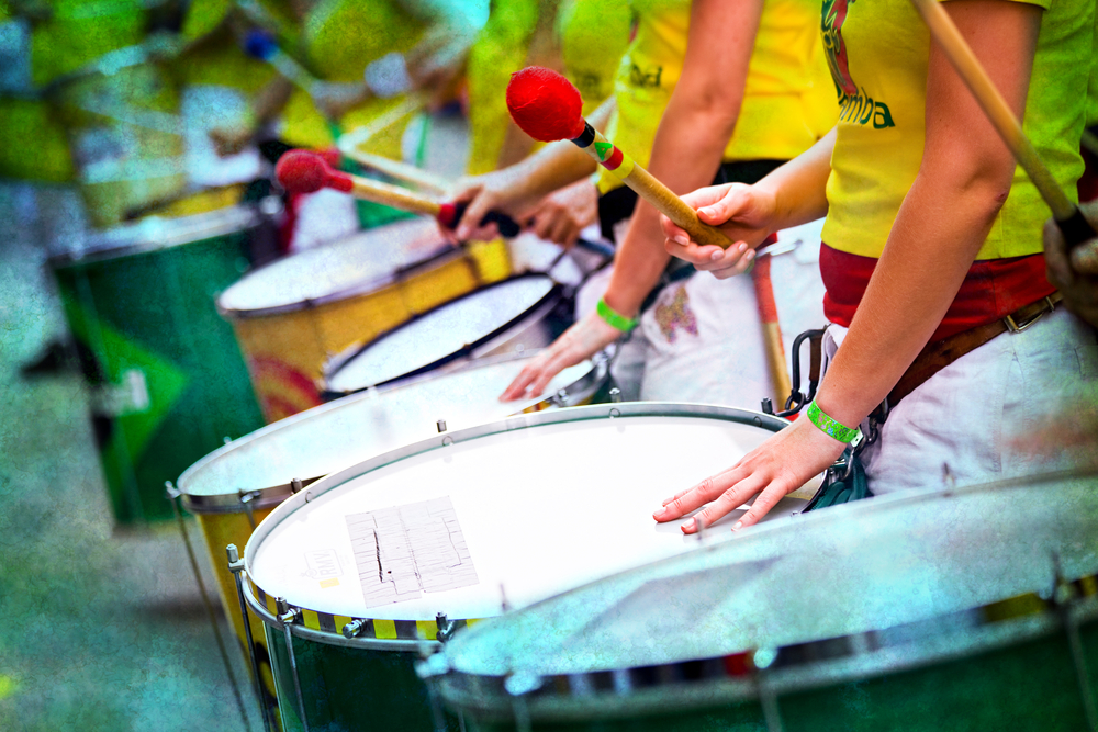 Samba carnival with drum group in Rio de Janeiro