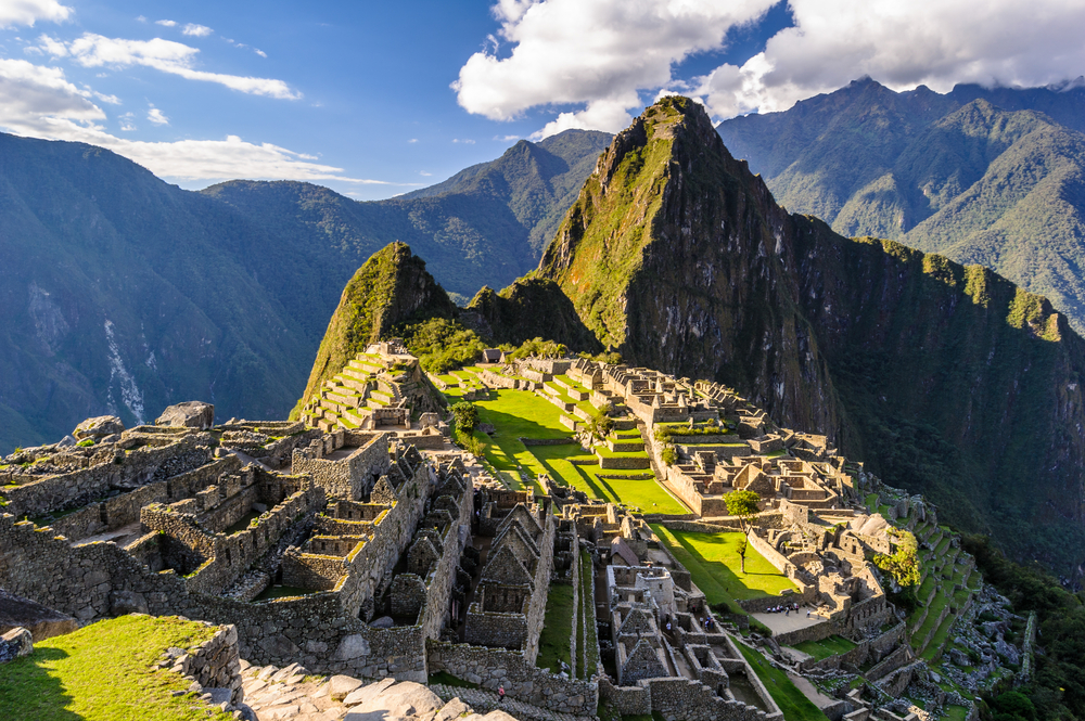 View of Machu Picchu and the ruins in Peru