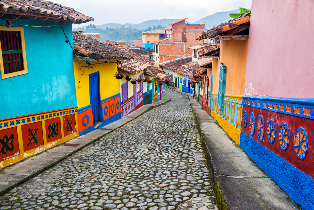 Colonial Houses in Guatape, Antioquia in Colombia