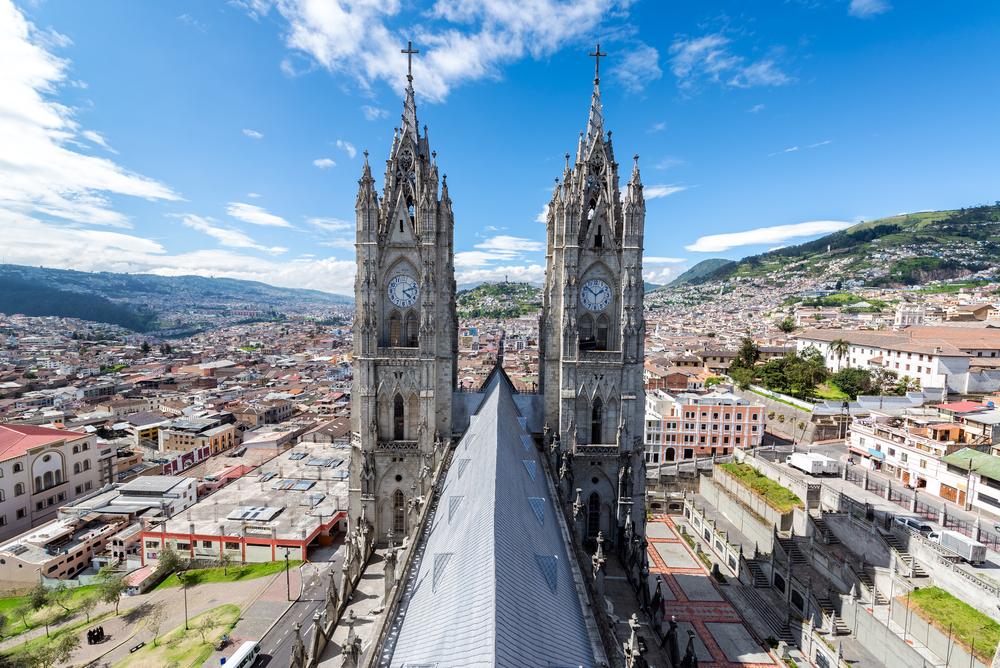 Towers of the Basilica in Quito, Ecuador