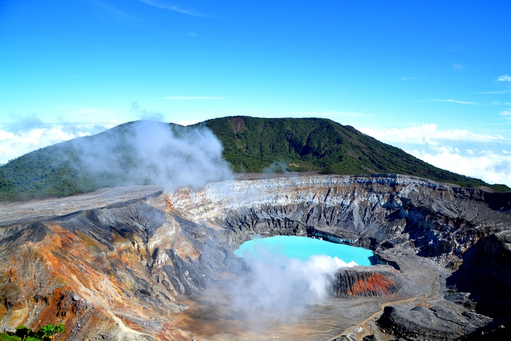 crater and the lake of the Poas volcano in Costa Rica.