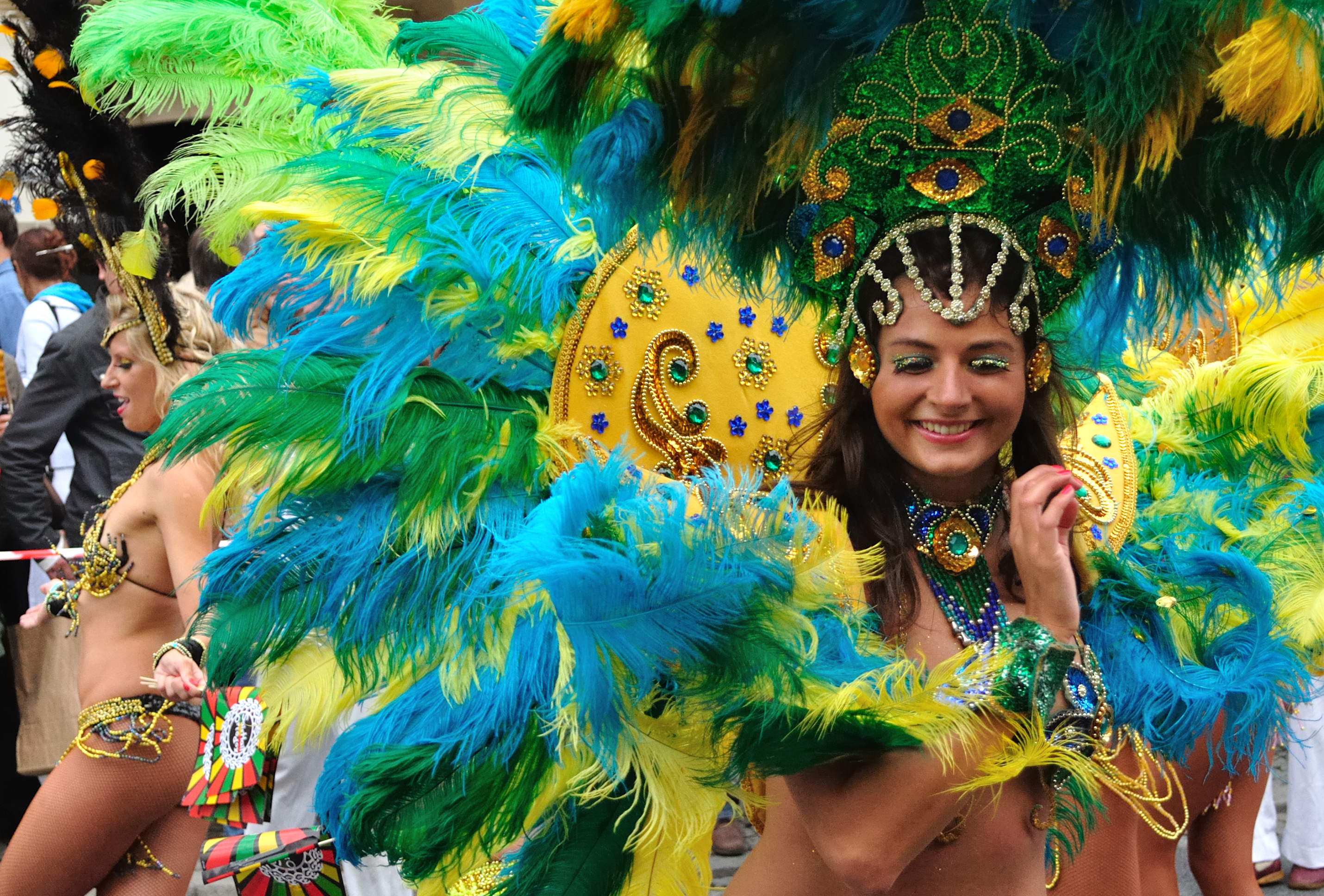 Carnival girl in Rio with colourful feathers