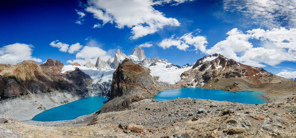 Mount Fitz roy and water and snow