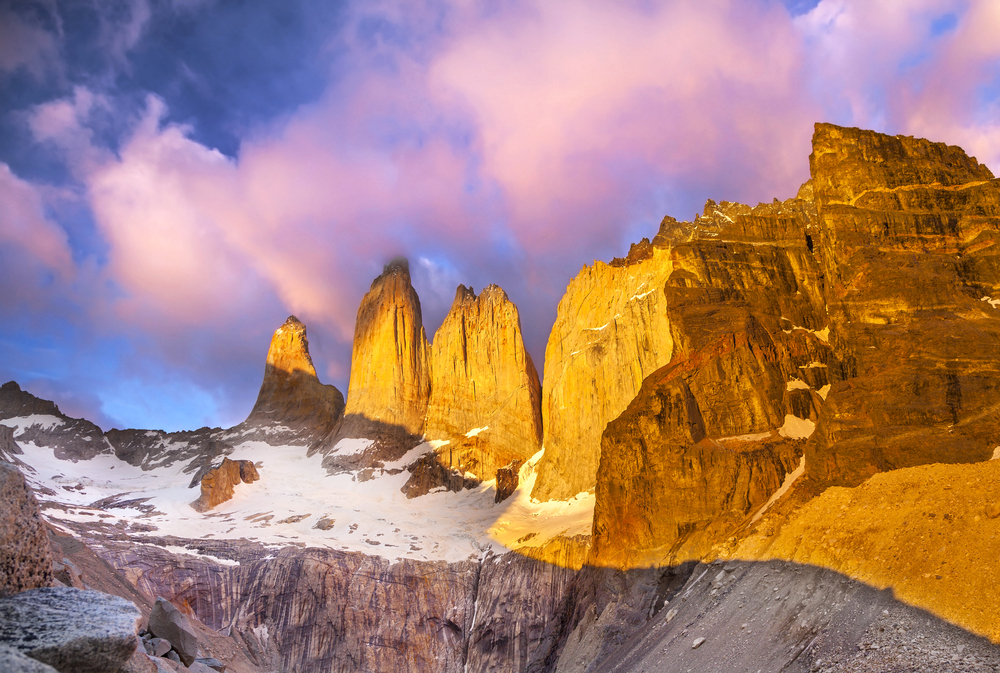 Mountains lit by the sunset in Torres del Paine in Patagonia, chile in South America