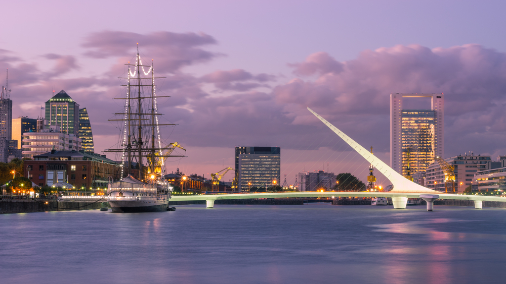 Puerto Madero suburb at Buenos Aires with waterfront view